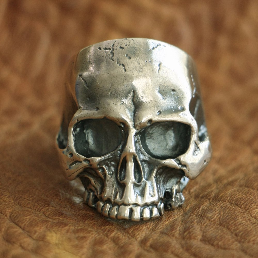 LINSION 925 Sterling Silver Handmade Skull Ring Mens Biker Punk Ring TA98 US Size 7~15 r006 7 skull shaped stylish titanium steel ring silver us size 6