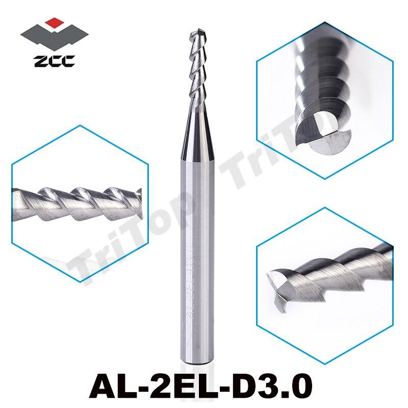 5PCS/LOT AL-2EL-D3.0 ZCC.CT 2 Flute 3mm Flattened Solid Carbide End Mill Long Cutting Edge  For Aluminum Cnc Milling