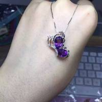 natural amethyst pendant 925 Sterling silver Natural gemstone Pendant Necklace trendy Cute lovely Butterfly fly women jewelry