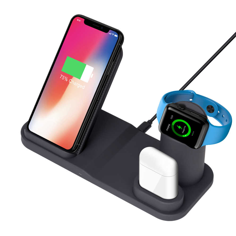 3 en 1 soporte de cargador inalámbrico para iPhone X 8 XS estación de carga para Apple Watch 4 3 2 Soporte de cargador de Airpods para Samsung S9