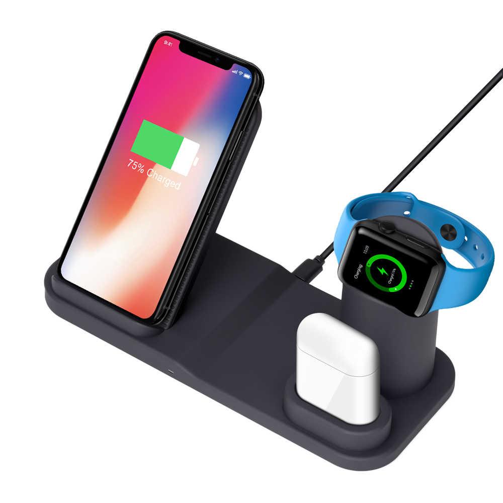 3 w 1 bezprzewodowa ładowarka do iPhone X 8 XS stacja dokująca ładowarki do zegarka Apple Watch 4 3 2 Airpods ładowarka uchwyt na Samsunga S9