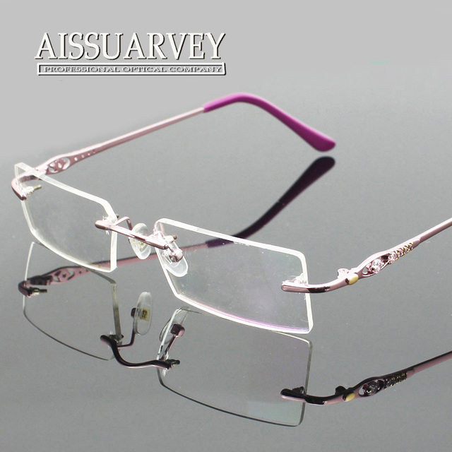 462a2d8313 Fashion brand designer eyeglasses frame rhinestone eyeglass frames rimless  titanium alloy diamond prescription luxury woman