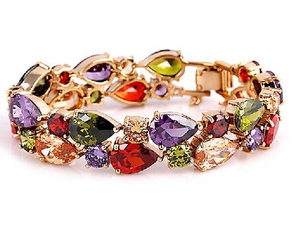 17/19cm bijoux de luxe 18kt or Rose rempli Multi AAA cubique zircone simulé pierres Bracelet boîte-cadeau pour cadeau de noël