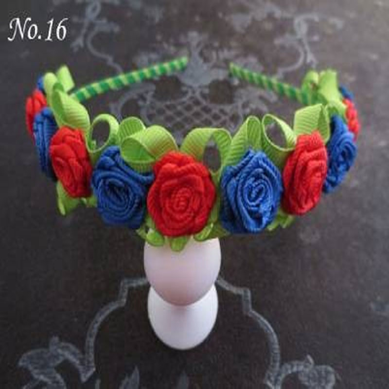16 pcs Rose Flower Garland Floral Headband For girl/women 100 kinds of colors hand customize hair accessories