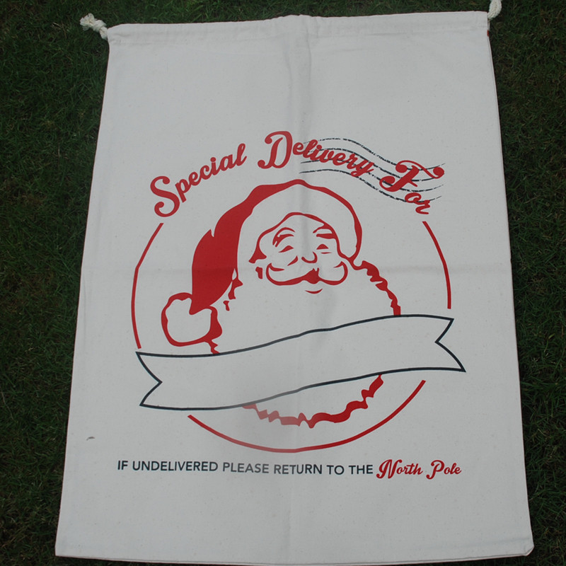 Wholesale Santa Claus Sacks Xmas Gifts Drawstring Bags Large Blanks Canvas Christmas Gifts Tote Reindeer Santa