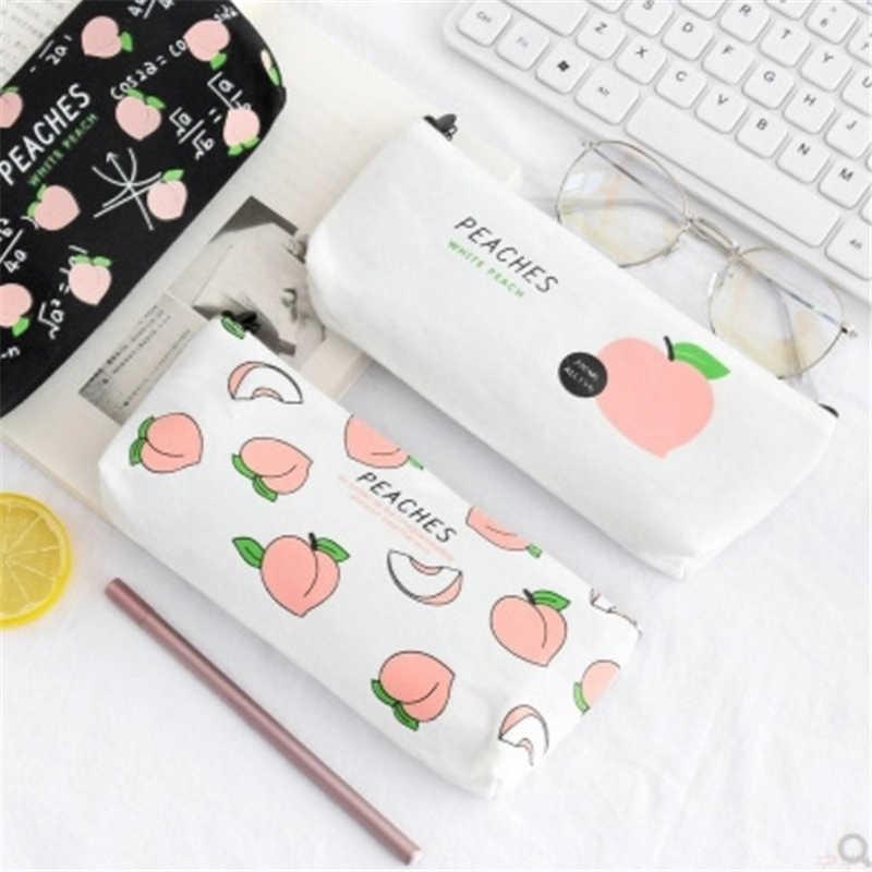 ผ้าใบใหม่ผลไม้พีชดินสอดินสอโรงเรียนสำหรับสาวเครื่องเขียนดินสอกระเป๋าอุปกรณ์โรงเรียนนักเรียนของขวัญ