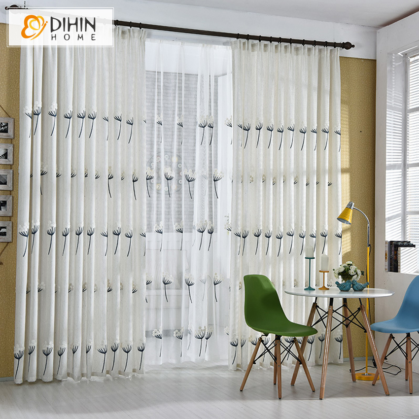 Dihin 1 Pc Natural Linen Cotton Embroidered Curtains For Living Room Window Bedroom Cortinas Blinds