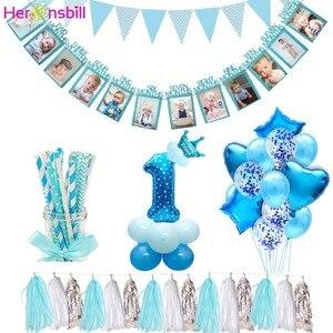 Image 1 - Heronsbill 1st Glücklich Geburtstag Party Dekorationen Meine Erste Baby Junge Mädchen Helium Anzahl 1 Luftballons Banner Cupcake Topper Liefert