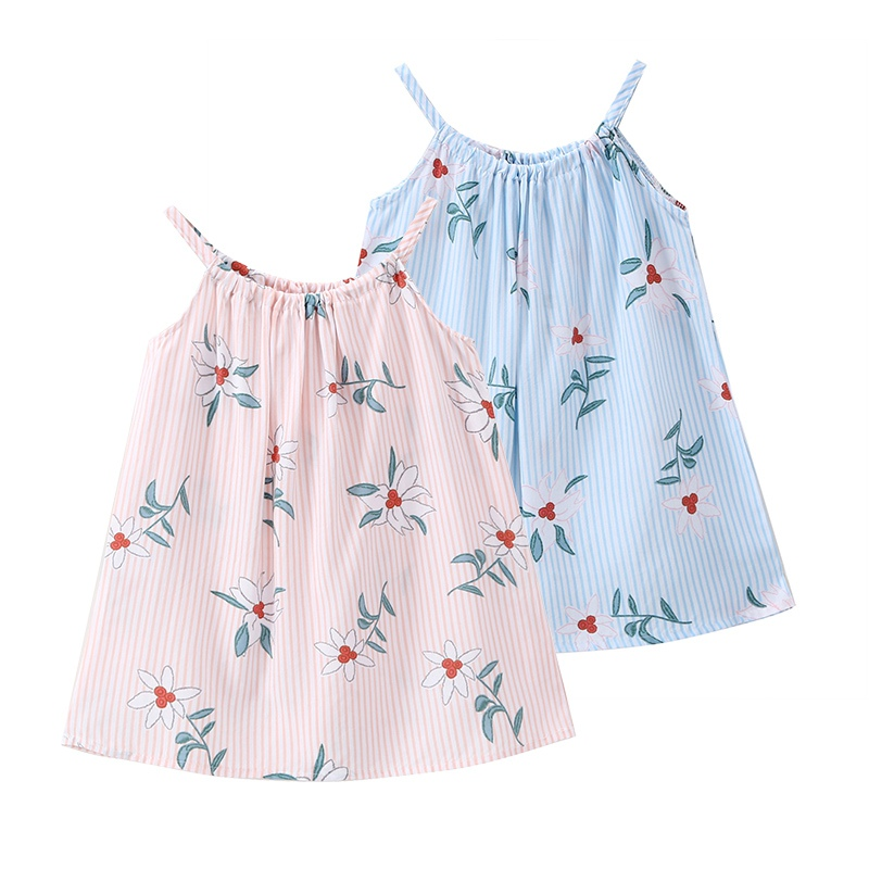 Casual Summer Baby Cute Striped Dress Cotton Floral Infant Girl Dresses Lovely Toddler Baby Girl Clothes New