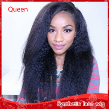 2016 Cheap Brazilian Synthetic lace front yaki kinky straight wigs for black women glueless heat resistant wigs with baby hair