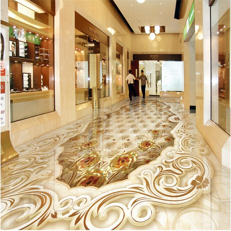 Beibehang Flooring Painted High End Luxury Aristocratic Gold Rose
