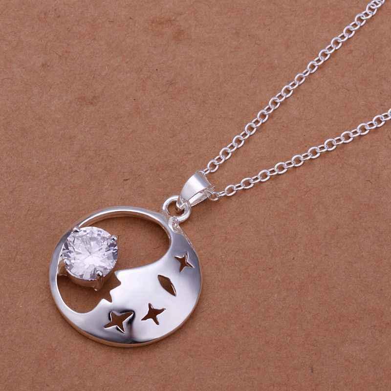 แท้ 925 จี้เงิน 925 - sterling - silver rhinestone จี้สร้อยคอสำหรับหญิงชาย + โซ่ SP316