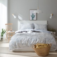 Fresh Style Light Gray Little Flowers Printed Bedding Set 4Pcs Queen King Size Solid Back Duvet