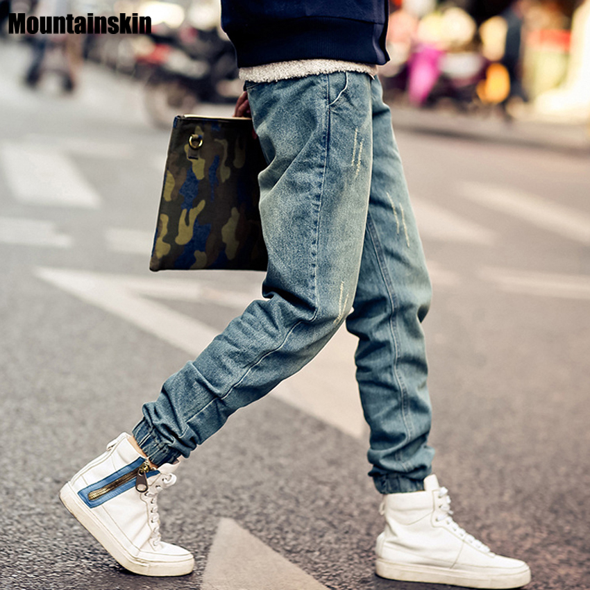 Mountainskin New Korean Style Men 39 S Jeans Distrressed Jogger Jeans Slim Fit Denim Pants Skinny