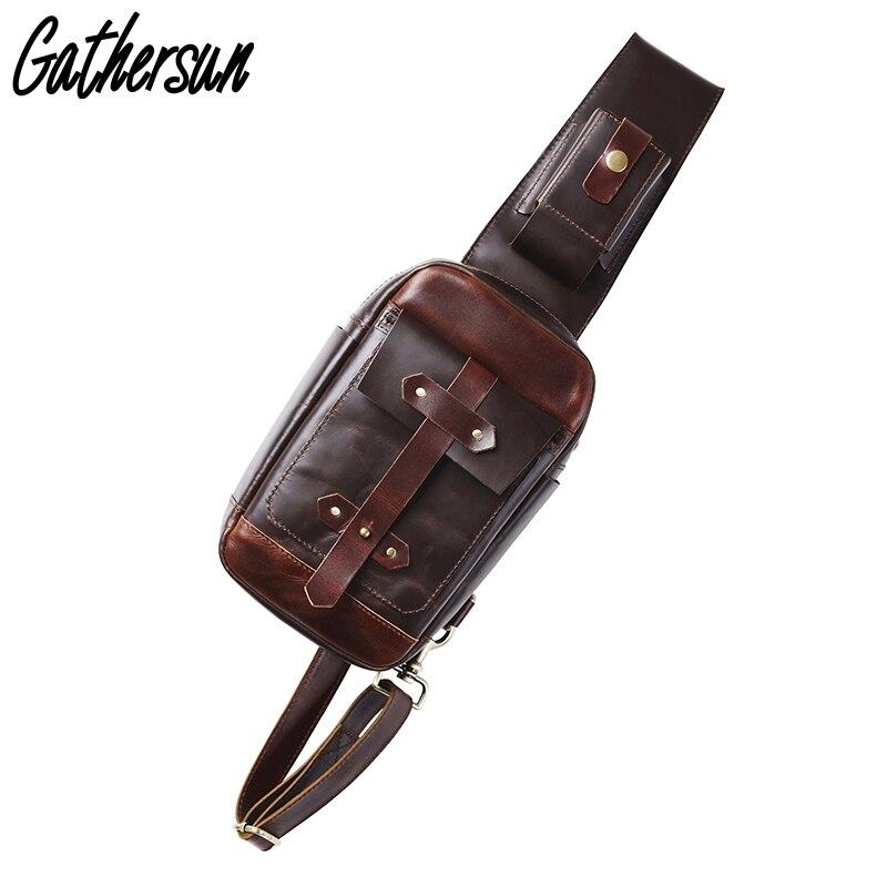 2017 Gathersun Vysoce kvalitní ručně vyráběná 100% pravá kůže muži hrudníku Pack Originální design Vintage Kráva kožené mužské rameno taška