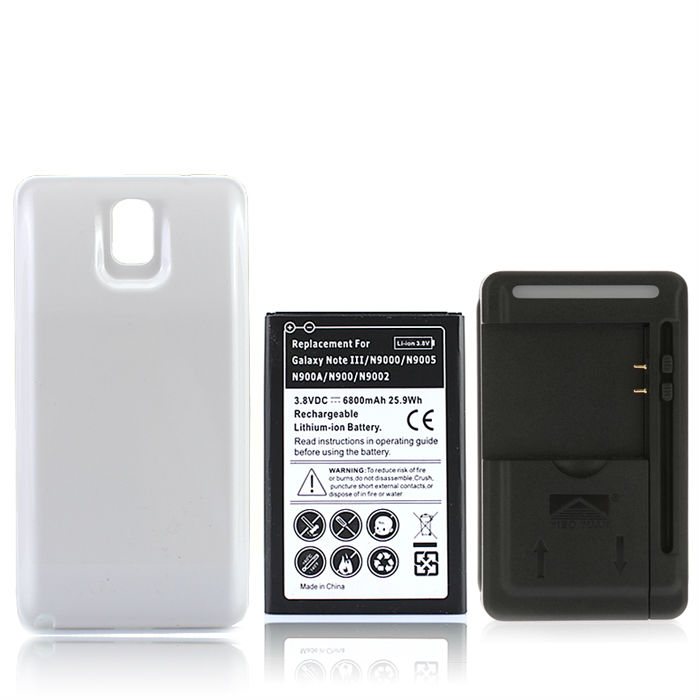 High Capacity Extended Repalcement Mobile Cell Phone Battery For Samsung Galaxy Note 3 N9000 N9005 6800mAh +Back Cover+Charger