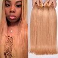 7A Nova Honey Blonde Cabelo 4 Bundles Peruano Virgem Cabelo virgem loira em linha reta 27 # cor loira feixes de cabelo baratos gossip menina