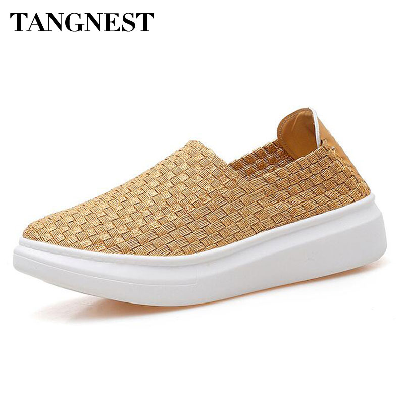Tangnest  NEW Gold Casual Women Shoes Fashion Knitted Slip-on Platform Flats Women Creepers Shallow Loafers Size 35~40 XMR2622 phyanic 2017 gladiator sandals gold silver shoes woman summer platform wedges glitters creepers casual women shoes phy3323