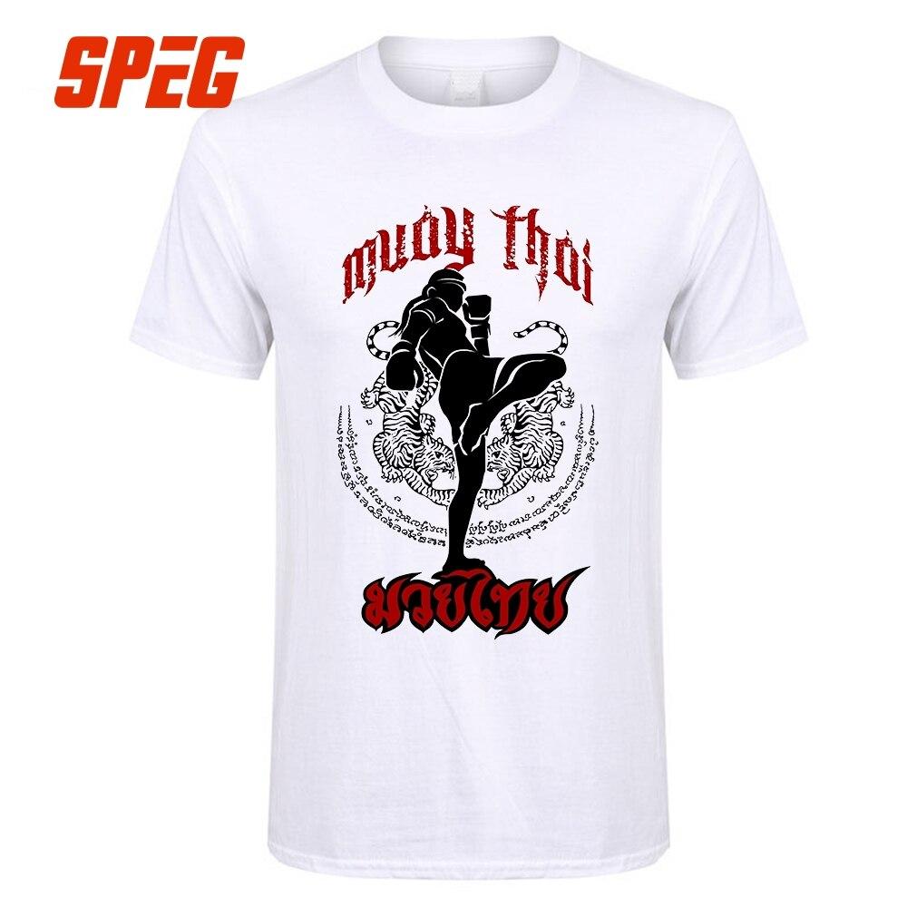 Tee Shirts Muay Thai Kick Thailand Martial Art Logo Badge Men Pre-Cotton Short Sleeve T-Shirt Crazy Men's T Shirt Designer