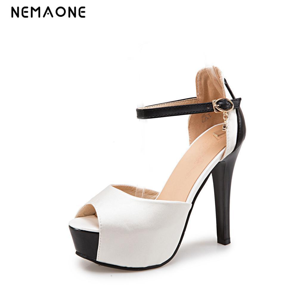 2017 New summer women shoes thin high heels women sandals sexy wedding shoes peep toe sandals femme large size 34-43 suru designer shoes wedding heels women sexy open toe cut out side summer sandals high heels large size 40 41 42 43 44 45 46 a39