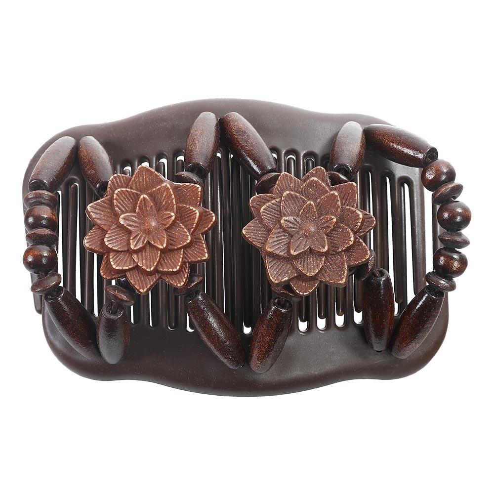 Haimeikang Wood Beaded Hair Elastic Clips Hairpins For Women Girls Retro Hair Magic Combs Double Layer Hair Comb Accessories