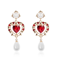 Korean Red Rhinestone Hollow Simulated Pearl Love Heart Drop Earrings Fashion Women Statement Party Brinco Jewelry