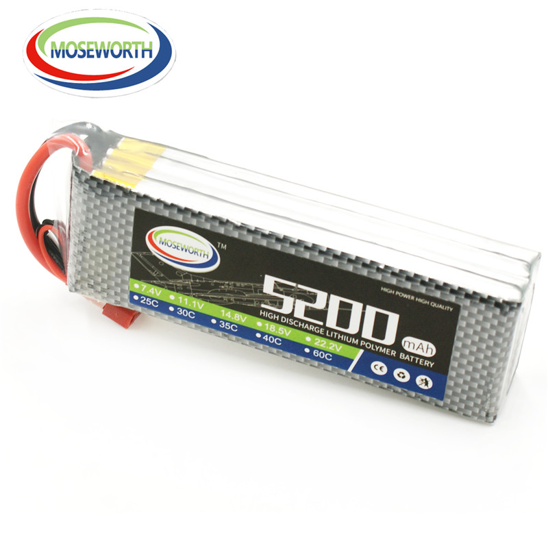 MOSEWORTH RC Lipo Battery 14.8v 4S 5200mAh 40C For RC Aircraft Quadcopter Helicopter Car Boat Drones Airplane Li-polymer AKKU 4S f17534 5 6stat cnc round oil plug with fuel dot filling nozzle mouth 4 5mm for rc model boat aircraft helicopter car