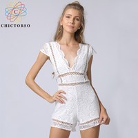Chictorso Lace Rompers Womens Jumpsuit Short Sleeve Summer Overalls Jumpsuits For Women 2018 White Playsuit Sexy Jumpsuit Short