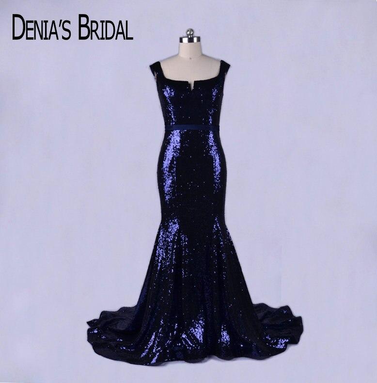 2017 robes de soirée sirène violet foncé paillettes avec encolure dégagée sans manches Court Train robes de bal