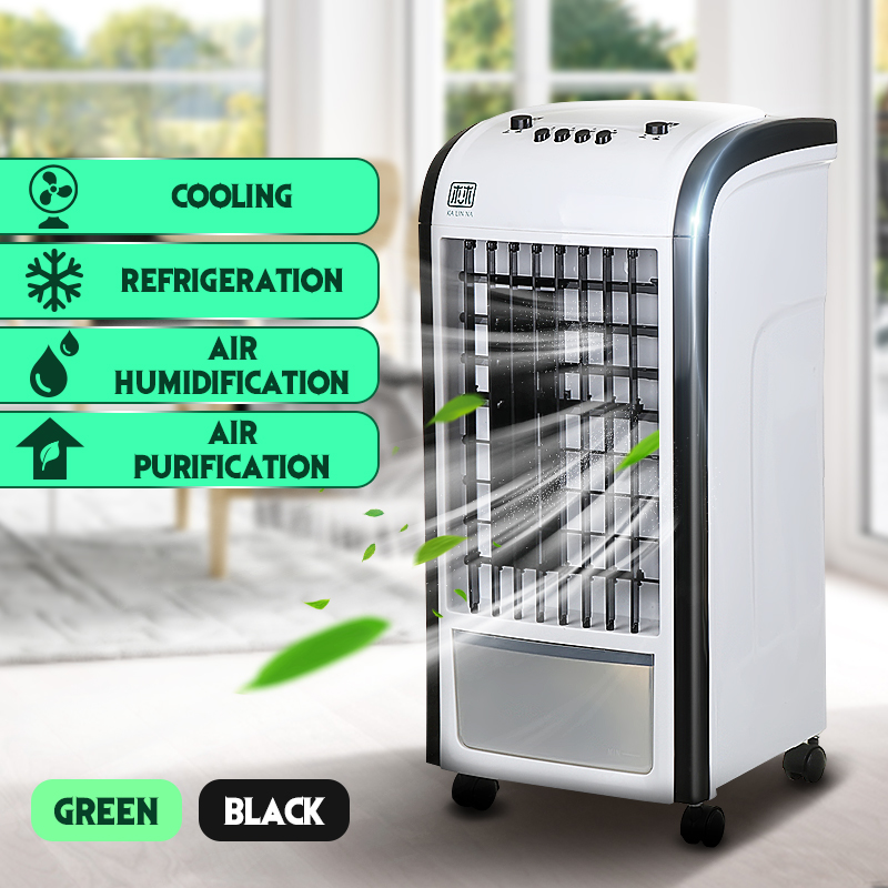 60W 220V Evaporative Air Cooler Fan Portable Handle Desk Electric Fan Mini Air Conditioner Device Cool Soothing Wind Home universal dc 12v evaporative air conditioner 35w black portable mini cooling conditioner water evaporative car air fan