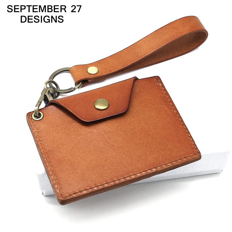 Badge Holder genuine leather ID Name card holder bus bank credit card holders keychain mini wallet small purses money bag