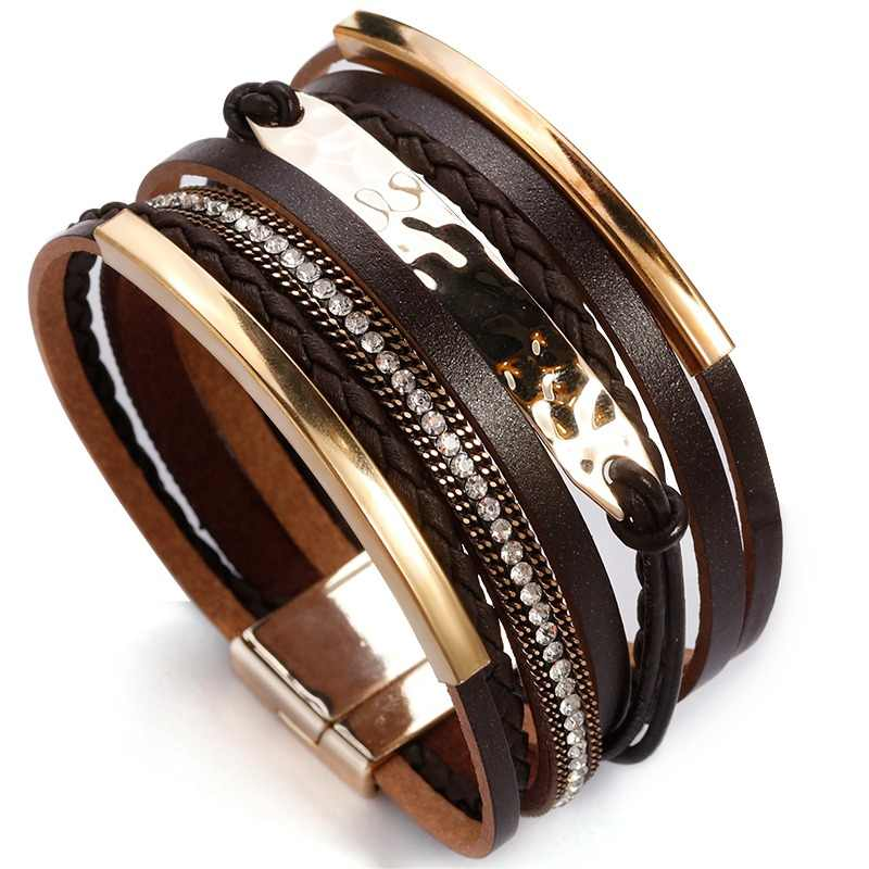 ALLYES Multilayer Leather Bracelet For Women Metal Bar Charm Braided Wide Wrap Bracelets & Bangles Woman Jewelry Black / Brown
