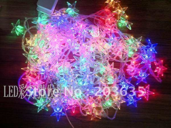 Christmas party Multicolour 10M pentacle LED String Decoration Light with Tail plug 220V Free Shipping