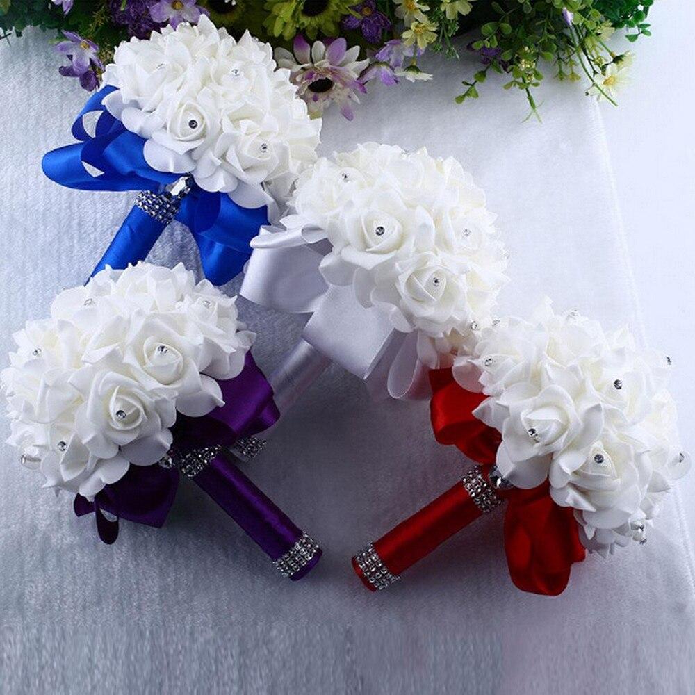 Kandi Flower Girl Posy White silk artificial wedding bridal flowers with peonies daisies rose Powder blue Pink Pastel Lilac Purple
