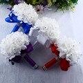 Красивый белый цвет Искусственный жемчуг для подружки невесты Фиолетовый королевский синий свадебный букет Искусственные Шелковые цветы ...