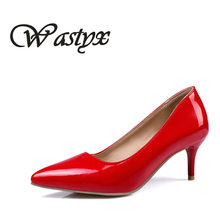 Wastyx New Fashion Women Pumps Classic High Heels Shoes Sexy Slim Pointed OL Office Singles Heeled Shoes plus size 34-48