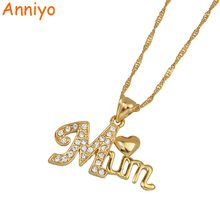 Anniyo Heart Mum Pendant and Necklaces for Women/Mama Gold Color Jewelry Best Gifts With Rhinestone #062802(China)