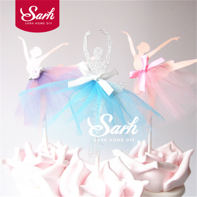 5PCS Wedding Love Dancing Ballet Girl Series Insert Card with Plastic Stick Cake Decoration for Wedding Birthday Party Gift