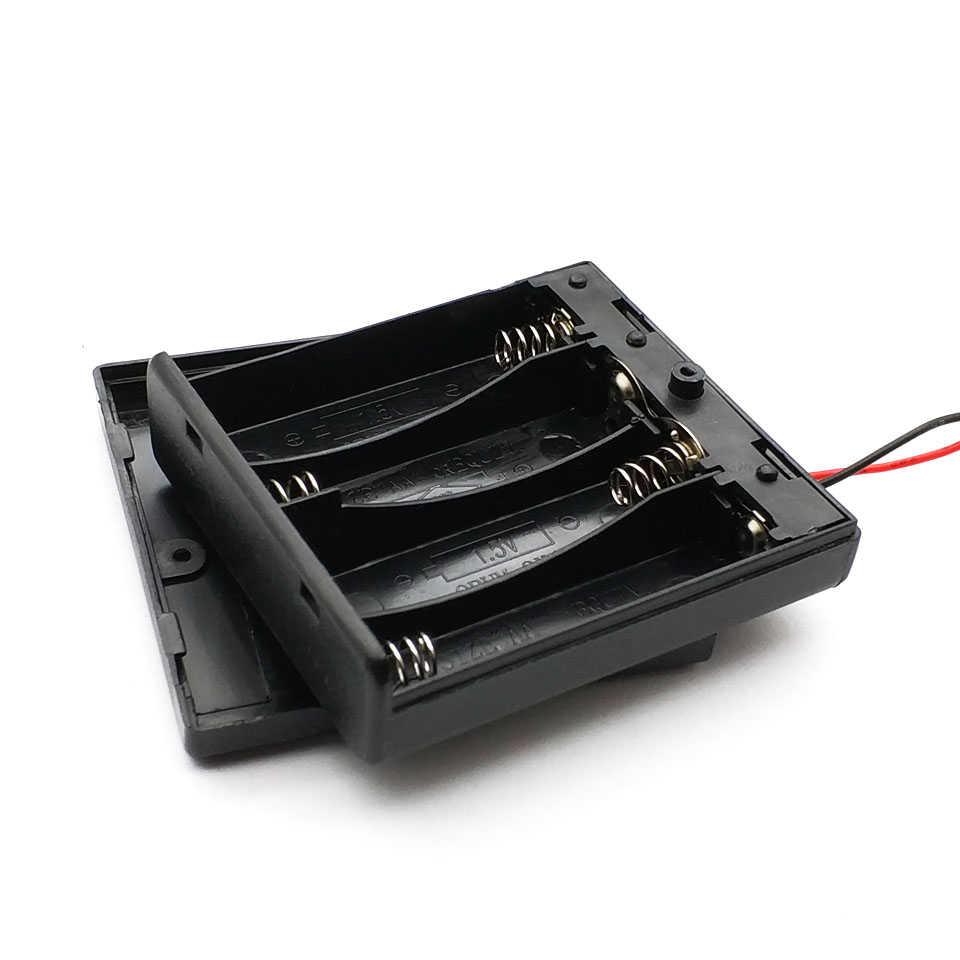 6V 4 X AA soporte de batería caja de almacenamiento de plástico con cables de interruptor de apagado/encendido para piezas RC para salida CC 6V