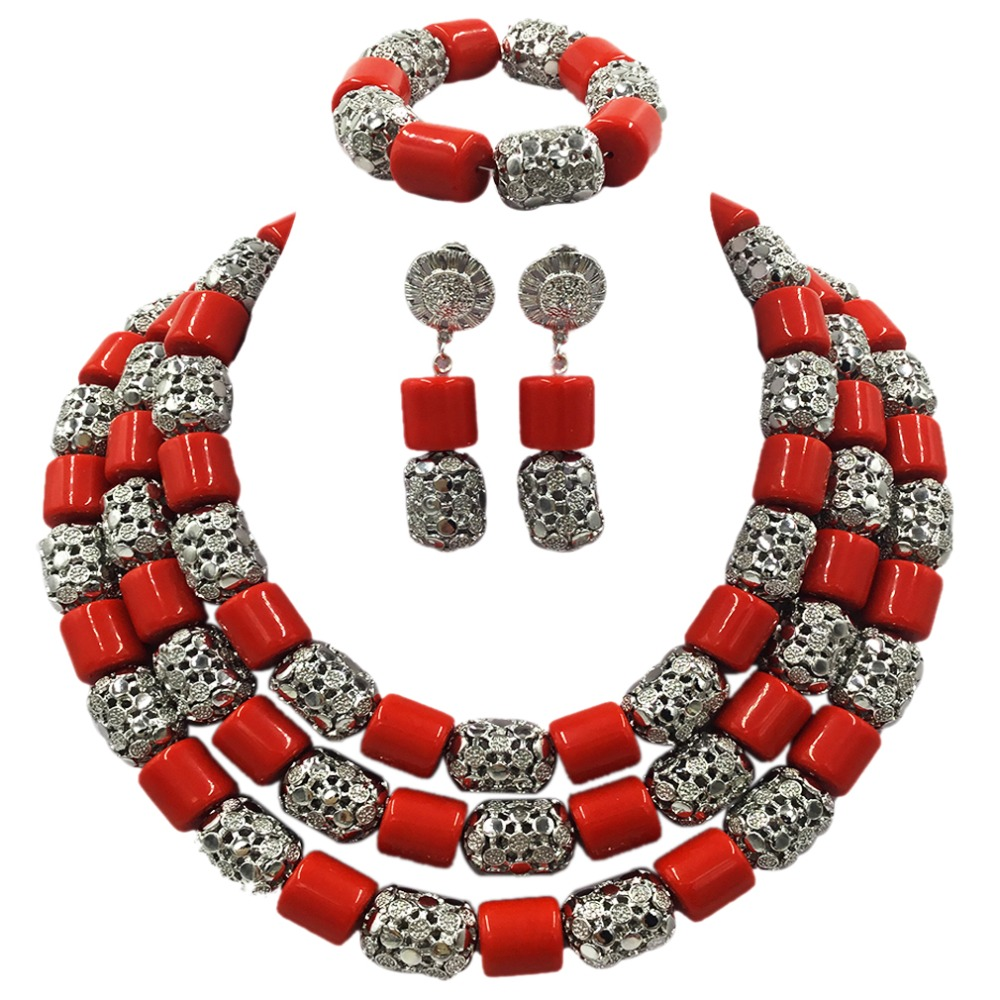 Latest Artificial Coral and Gold Traditional African Wedding Beads Jewelry Set Statement Necklace Set Nigerian Women Set ACB-32 latest yellow and gold beaded artificial coral nigerian wedding african beads jewelry set acb 11