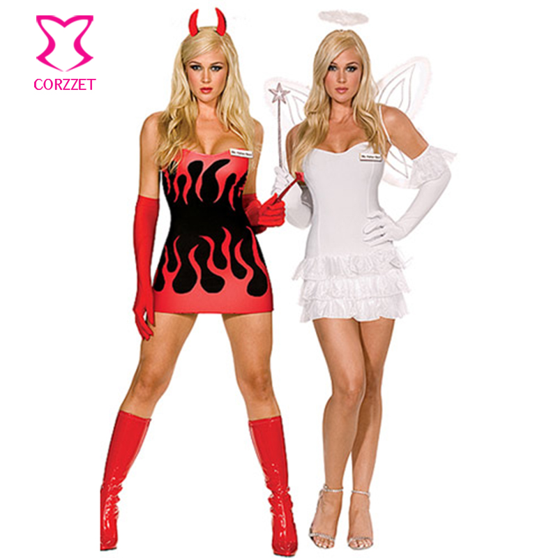 White/Red Reversible Sides Devil Angel Fancy Dress Carnival <font><b>Halloween</b></font> Costume Women Role Play Plus Size <font><b>Sexy</b></font> Costumes For Adults image