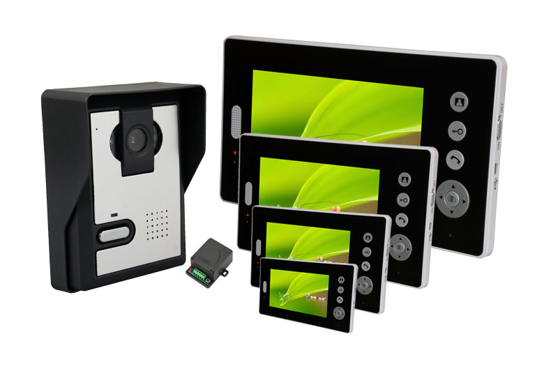 7Inch 1V4 2.4Ghz  Wireless Intercom Unlock Video Door Phone 7inch 2 4ghz wireless intercom unlock video door phone with 3camera