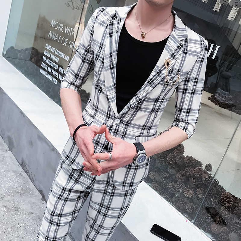 カスタムネットワークセレブのスーツ男性の夏のスーツ、男性のツーピーススーツ、韓国のファッションスーツ、レジャースーツ、