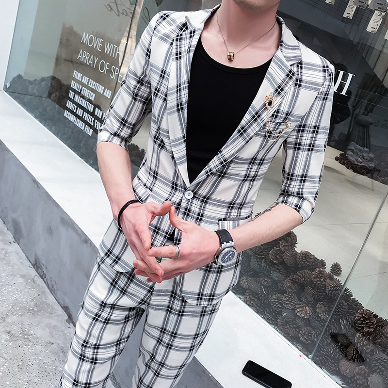 Elegant And Sturdy Package Mens Two-piece Suit Leisure Suit Custom Network Celebrity Suit Mens Summer Mid-sleeves Suit Korean Fashion Suit