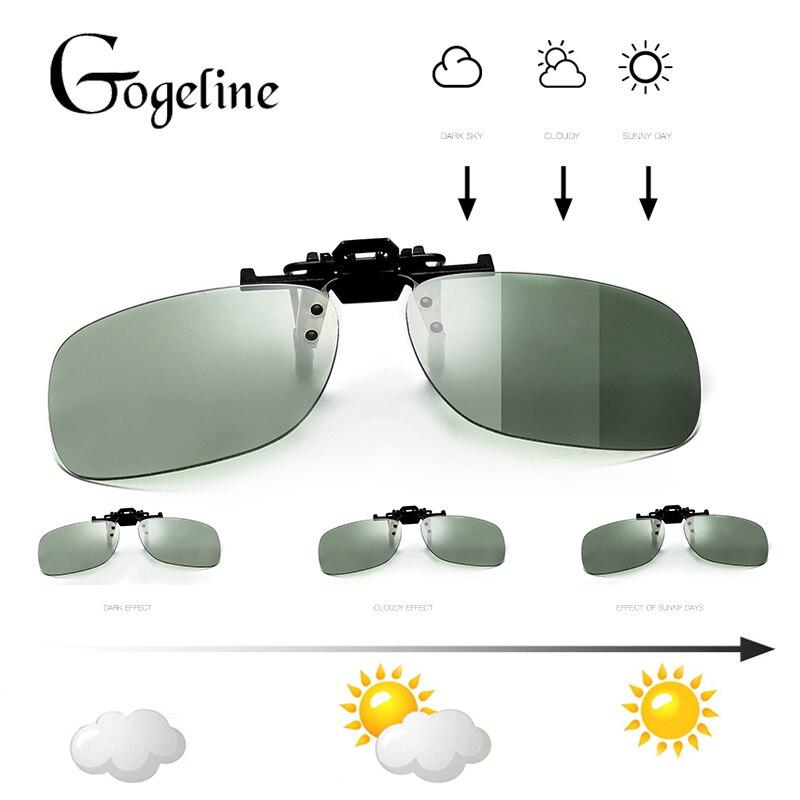 Clip Sunglasses Polarized Photochromic Driver Flip-Up Men Square Discoloration Chameleon