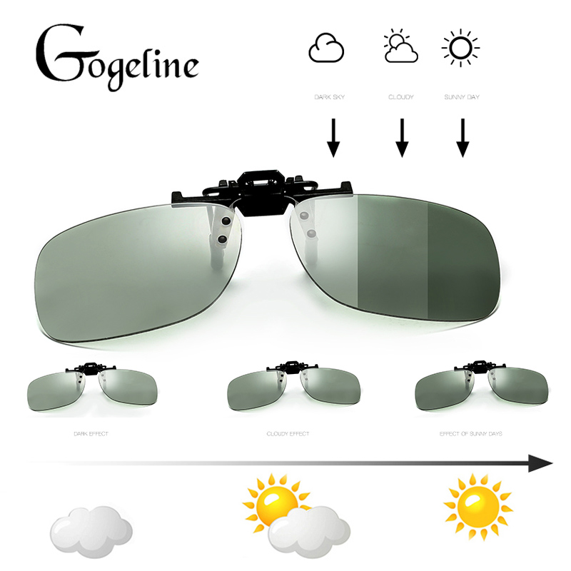 2020 Square Photochromic Sunglasses Clip Men Polarized Chameleon Discoloration Driver Sun Glasses Flip Up Myopia Glasses