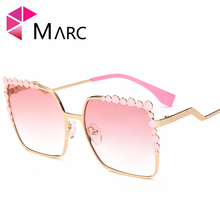 MARC UV400 WOMEN Square Polarized fashion Gradient sunglasses Pearl Brown Red M