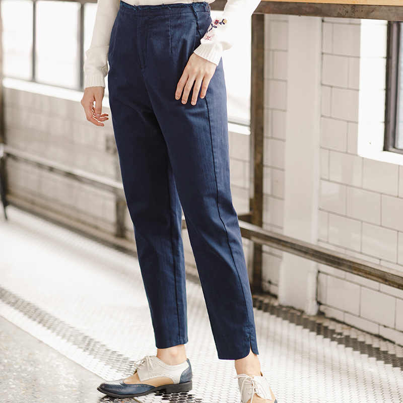 INMAN Women's 2019 fall fashion leisure pants nine solid backing pants female pencil pants