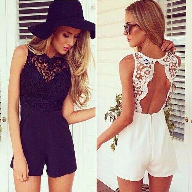 Summer Beach White Lace Elegant Female Short Jumpsuit Romper Sexy Backless Playsuit Women One Piece Party Body Suit Overalls