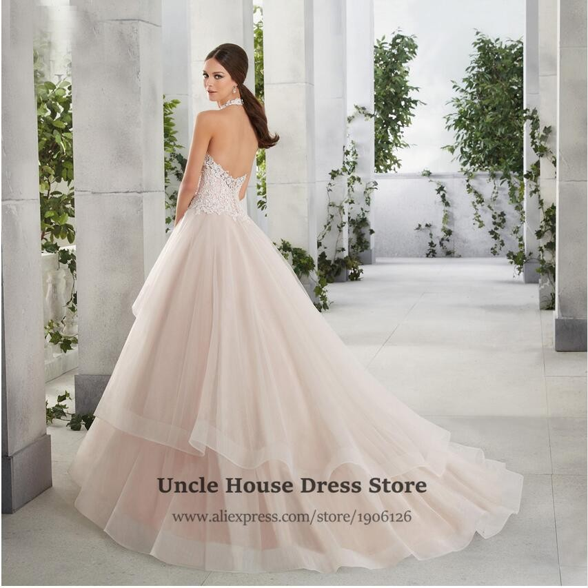 Halter Top Wedding Dresses Plus Size Bridal Gowns Ball Gown Lace
